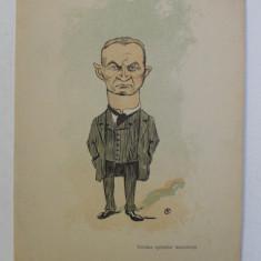 FURCULESCU , ' VICTIMA SPIONILOR MUSCALESTI ' , CARICATURA , LITOGRAFIE de pictorul NICOLAE PETRESCU - GAINA 1871 - 1931 , 1898