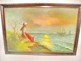 6345-Tablou peisaj marin femeie corabii pescarusi subiect romantic ulei/placaj.