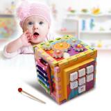 Cub din lemn cu activitati educative 6 in 1