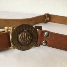 centura curea vintage poloneza CZUJ, piele cu catarama de metal, 85cm