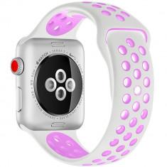 Curea pentru Apple Watch 42 mm Silicon Sport iUni Alb-Mov
