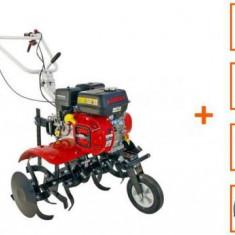 Motocultor Loncin LC750 ECO, 7 CP, cu roti C. + plug + rarita + roti M.