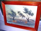 511- Tablou peisaj cu vaci pe campie ulei pe placaj stare F.B.