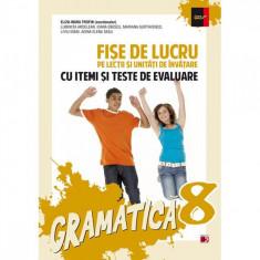 Gramatica clasa 8 fise de lucru ed.2014 cu itemi si teste de evaluare - Eliza-Mara Trofin