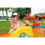 Centru de joaca gonflabilcu piscina, topogan, bile gonflabile multicolore