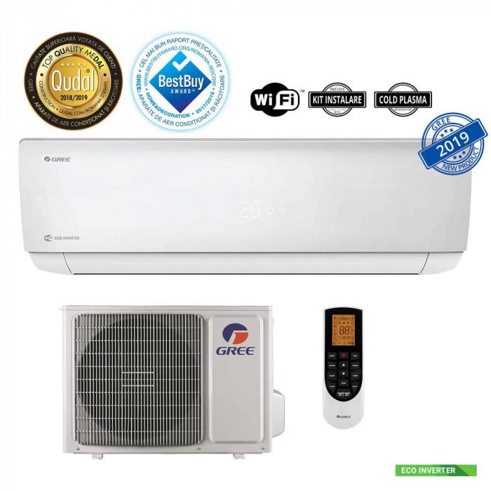 Aparat aer conditionat Gree GWH12AAB-K6DNA4A Gama Bora A4 Inverter 12000BTU Clasa A++ Wi-Fi Silver + Kit instalare inclus