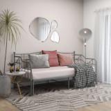 Cadru pat canapea extensibilă, gri, 90x200 cm, metal, vidaXL