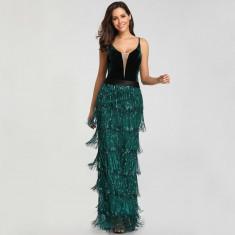 Rochie verde eleganta de ocazie cu catifea și franjuri/paiete noua!