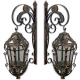 Set doua felinare Art Nouveau din alama masiva aurie RZ95-Paar