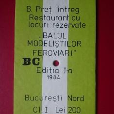 Bilet Balul Modelistilor Feroviari 1984/19x10 cm