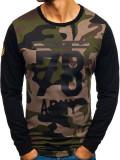 Cumpara ieftin Bluză fără glugă cu imprimeu pentru bărbat camuflaj-kaki Bolf 0746