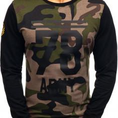 Bluză fără glugă cu imprimeu pentru bărbat camuflaj-kaki Bolf 0746