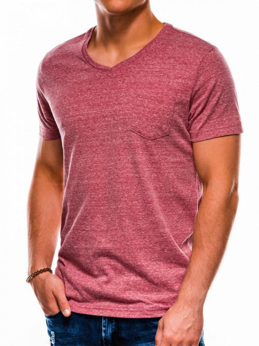Tricou barbati S1045 - rosu-inchis