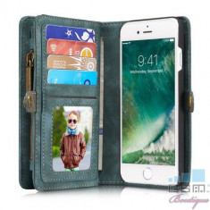Husa iPhone 8 / 7 Albastra 2 in 1 Tip Portofel Vintage