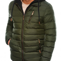 Geaca pentru barbati verde impermeabila fermoar model slim gluga si pieptar detasabile c384