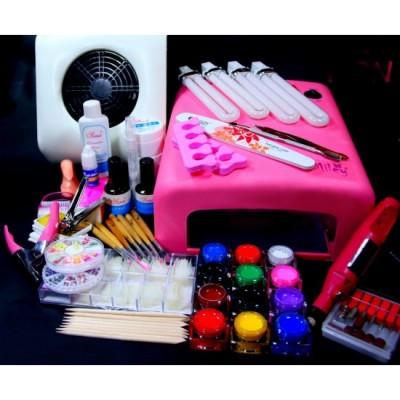 Set complet manichiura cu Lampa UV, Geluri, Aspirator, Freza