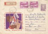 România, produse de artă populară, plic recomandat, circulat intern, 1968