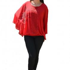 Bluza dama eleganta ,model cu flori din strasuri,nuanta de rosu