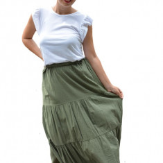 Fusta Denisse, model simplu cu elastic in talie, nuanta de verde inchis