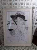 "Portret ""fotografic"" alb-negru, Portrete, Cerneala, Art Nouveau"