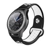 Curea silicon sport Edman compatibila Samsung Gear S3, telescoape Quick Release, 22mm, Negru/Alb