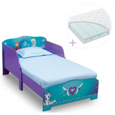 Set pat cu cadru din lemn Frozen si saltea pentru patut Dreamily - 140 x 70 x...