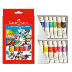 Tempera apa 12 culori in tub 12 ml Faber Castell 121015