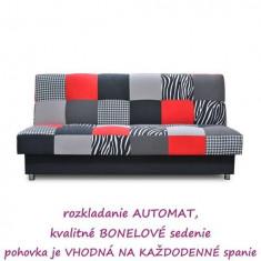 Canapea extensibila, textil roşu/gri/negru, ALABAMA
