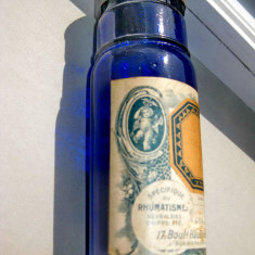 B332-I-Sticla Farmacie veche albastra cobalt Aspirin 10 Vicario anii 1900.