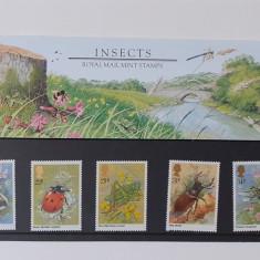 Timbre Anglia 1985 - Serie INSECTE, In Folie De Prezentare MNH +Carton Filatelic