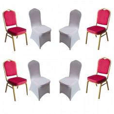 Set 4 scaune metalice culoare rosie pentru evenimente,catering 45x51x93cm cu 4 huse elastice albe MN016667-3 Raki