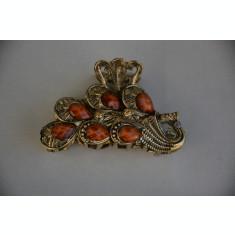 Cleste de par elegant, metal auriu cu pietre colorate, alungite