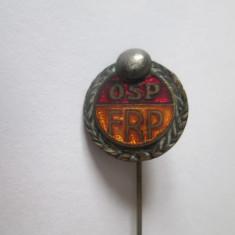 Rara!Insigna Organizatia Sportului Popular(OSP)-Federatia Romana popice 1944-'49