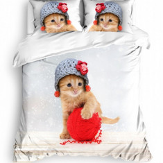 Lenjerie de pat dublu copii, bumbac 100% Ranforce, Zen Art Deco