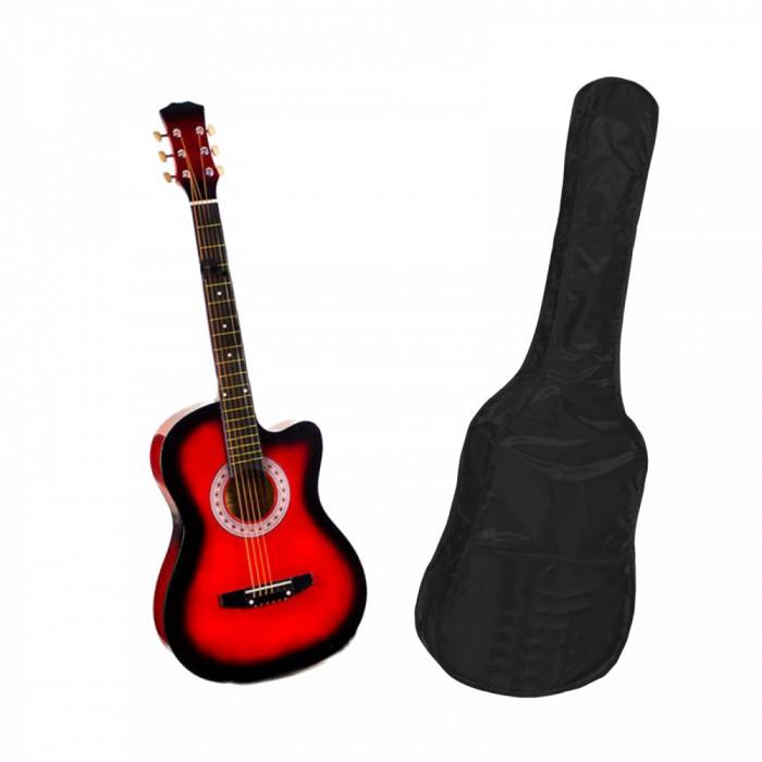 Chitara clasica din lemn 95 cm rosie husa nylon cadou