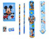Set ceas, pentru copii, cu Mickey Mouse, portofel si rechizite cadou - COCOB8011630, Disney