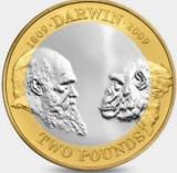 Moneda jubiliara ANGLIA - 2 lire 2009 - CHARLES DARWIN - aUNC