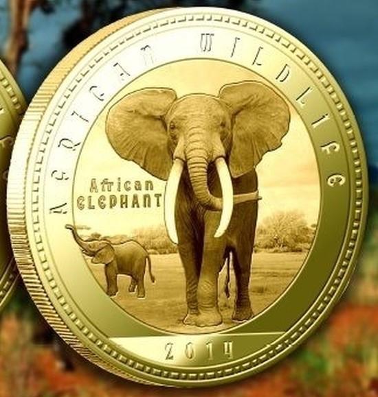 Zambia 1000 Kwacha 2014 UNC  Elefantul african  40mm Auriu