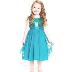 Rochie/rochita eleganta de voal fetite petreceri/aniversare model elsa, 3-4 ani, Albastru