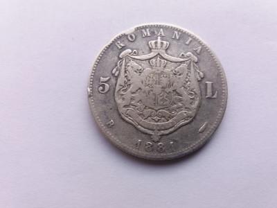 Romania-5 lei 1881-domnul foto