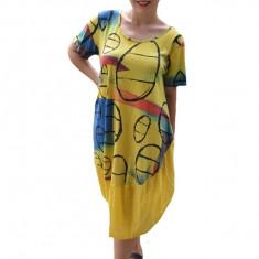 Rochie Agnette, din bumbac, imprimeu tip cercuri, nuanta galben