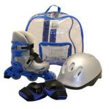Set role pentru copii DHS, marimea M, 35-38, PVC, echipament de protectie inclus, Albastru/Argintiu