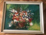 Tablou,pictura germana in ulei pe panza,vaza cu flori,tehnica spaclu, Altul