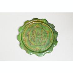 Veche farfurie decorativa de ceramica smaltuita 1936