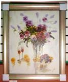 Tablou pictat manual pe panza in ulei, Peisaj, Vaza cu Flori A-064