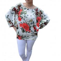 Bluza lejera Emilia cu imprimeu floral big-rose pe fond alb