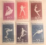 Cumpara ieftin Romania 1960 Lp 499 Jocurile Olimpice Roma II, 6v. Mnh, Nestampilat