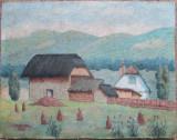 Peisaj rural cu case vechi - semnat  C.Vulcan