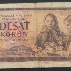 Bancnota 10 KORUN / COROANE - RS CEHOSLOVACIA, anul 1960  *Cod 573