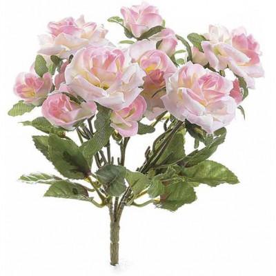 Buchet de flori artificiale trandafiri roz 15 H foto